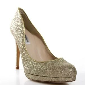 L.K. Bennett $365 New Sledge Gold Glitter Heels